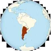 Argentina on the globe