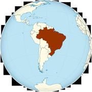 Brazil on the globe