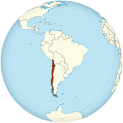 Chile on the globe