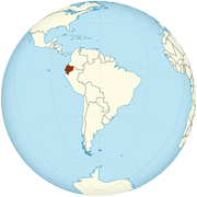 Ecuador on the globe