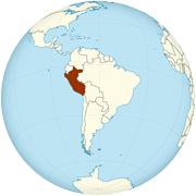 Peru on the globe