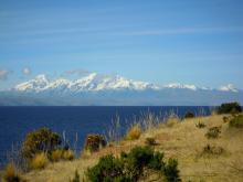 Cordillera Real Mountain range from Lake Titicaca