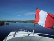 Lake Titicaca boat leaving Puno