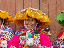 Peruvian lady with Lamb
