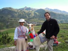 Traditional dress and llamas in the Colca Canyon