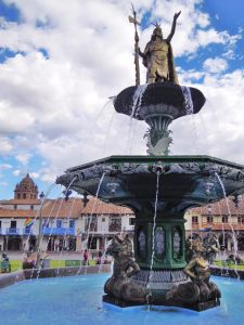 Renovated fountain in Plaza de Armas, Cusco