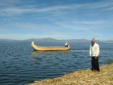 Traditional reed boat of the Uros people, Lake Titicaca, Peru