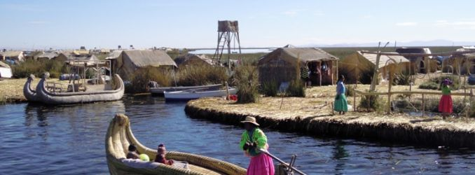 Traditional boats in Uros Islands, Lake Titicaca